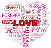 Love Heart Shape Word Cloud Illustration Stock Image