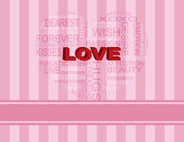 Love Heart Shape Word Cloud on Pink Background. Love Word Cloud in Heart Shape Outline on Pink Stripes Background Illustration Royalty Free Stock Image