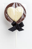 Love heart shaped chocolate lolly Stock Image
