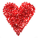 Love heart shaped pomegranate seeds Royalty Free Stock Image