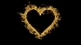 Love heart shaped Valentine`s Day golden glitter texture alpha copy space 4k stock video footage