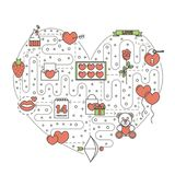 Love heart shaped vector flat line art illustration. Love heart shaped vector illustration. Modern thin line art flat style design element with Saint Valentines Stock Photography