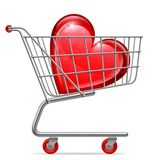 Love Heart in Shopping Cart Stock Image