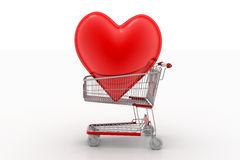 Love heart in a shopping cart trolley Stock Image