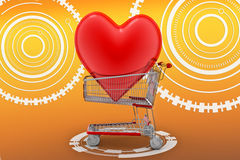 Love heart in a shopping cart trolley Royalty Free Stock Photography