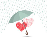 Love heart sign over rain under umbrella protection. Royalty Free Stock Image