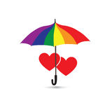 Love heart sign over umbrella protection in rainbow lgbt colors. Royalty Free Stock Image
