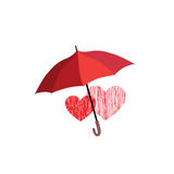 Love heart sign over umbrella protection. Two hearts in love ico Stock Images