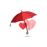 Love heart sign over umbrella protection. Two hearts in love ico Royalty Free Stock Image