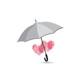 Love heart sign over umbrella protection Two hearts in love icon Stock Image