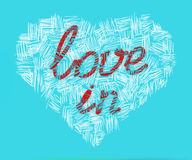 Love in heart. Sign Love in on white abstract heart drawn with contours Stock Images