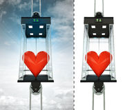 Love heart in sky elevator concept also isolated one Royalty Free Stock Images