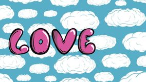 Love and heart in sky. Inscription love pink letters against the background of the sky stock footage