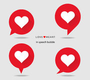 Love heart in speech bubble flat icons with long shadow. Heart in speech bubble icon. Vector illustration Royalty Free Stock Photos