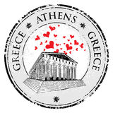 Love heart stamp with the Parthenon from Greece and the name Greece written inside the stamp Stock Photography