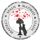 Love heart stamp with statue of Bear and strawberry tree and the words Madrid, Spain inside, vector Royalty Free Stock Photos