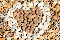 Love heart in red and white stones Royalty Free Stock Image