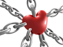 Love heart symbol on chain Stock Image