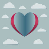 Love Heart Symbol With Clouds in The Sky. Vector stock of heart shaped love symbol surrounded with clouds in the sky Royalty Free Stock Photography