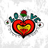 Love heart symbol with flower and strawberries. Hand drawing  colorful Stock Photography