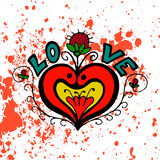 Love heart symbol with flower and strawberries. Hand drawing  colorful Royalty Free Stock Photo