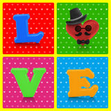 Love heart symbol man character on retro background Stock Photo