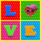 Love heart symbol woman character on retro background Stock Image