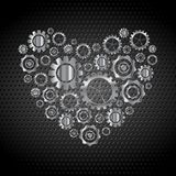 Love heart from tech metallic gears Stock Photography
