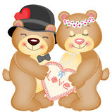Love Heart Teddy Bears Royalty Free Stock Image