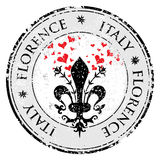 Love heart to The fleur de lis of Florence, travel destination grunge rubber stamp with symbol of Florence, Italy inside, vector i. Llustration Stock Photo
