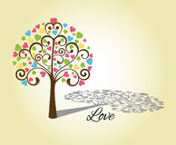 Love heart tree. With shadow and word love Royalty Free Stock Photography