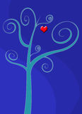 Love heart tree card Royalty Free Stock Photography