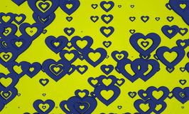 Abstract Blue and Green Valentine Heart Shape Pattern Background. Love, Heart, Valentine, abstract beautiful blue shaped valentine heart pattern on yellow Stock Photography