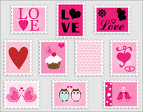 Love Heart Valentine Stamps. Collection of 10 romantic love heart valentine's day postage stamps Royalty Free Stock Images