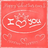 Love Heart Valentines day Greeting card Hand drawn Stock Photos