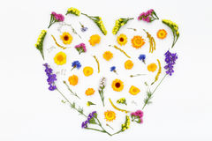 Love heart, valentines flowers background. Top view, flat lay Royalty Free Stock Images