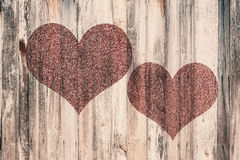 Love heart on vintage wood Royalty Free Stock Photos
