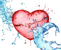 Love heart water splash Royalty Free Stock Images