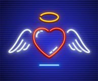 Love heart with winglets and gold nimbus. Neon icon. Sign with illumination of neon lamps. EPS10 vector illustration vector illustration