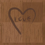 Love and heart on wood Royalty Free Stock Images