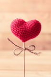 Love heart on wood stick Royalty Free Stock Image