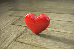 Love heart on wood texture background, valentines Stock Photos