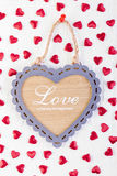 Love heart on wooden texture background Royalty Free Stock Image