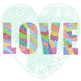 Love heart word. Vector graphic illustration design art Royalty Free Stock Photos