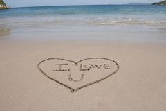 Love heart and words sand beach costa rica Royalty Free Stock Images