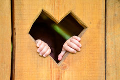 Love hearth in wood with hand. Love hearth shape in wood with hand Stock Photos