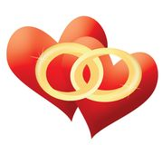 Love hearts. Mariage illustration Stock Images