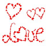 Love hearts. Red hearts and a word love from little hearts Stock Image