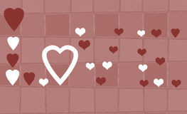 Love in Hearts. The word Love written in red and white hearts on grid background Royalty Free Illustration
