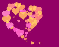 Love Hearts 2. Illustration of several hearts forming colorful patterns Stock Image